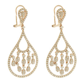 14K Rose Gold Diamond Unique Chandelier Earrings