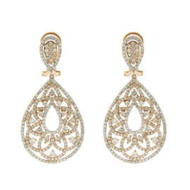 Rose Gold Diamond Pave Embellished Drop Earrings