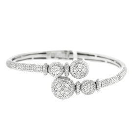 14K White Gold Pave Diamond Bangle