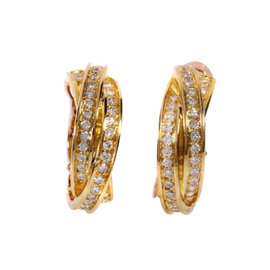 Cartier Trinity 18K Gold Diamond Hoop Earrings