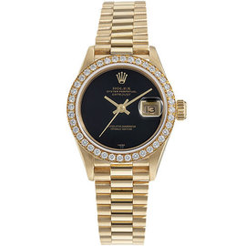 Rolex Presidential 69178 18K Gold Black Dial and Diamond Bezel Womens Watch