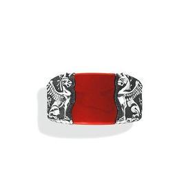 David Yurman 925 Sterling Silver and Jasper Inlay Griffin Signet Ring