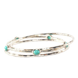 Ippolita Sterling Silver Turquoise Bangle Bracelet 3 Trio Set