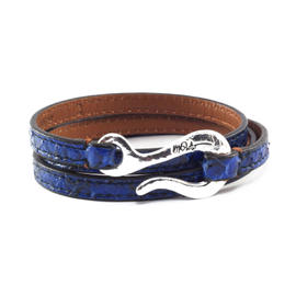 Ippolita Silver Navy Blue Cerulean Watersnake Leather Wrap Bracelet