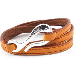 Ippolita Sterling Silver Brown Burnt Orange Leather Wrap Hook Bracelet