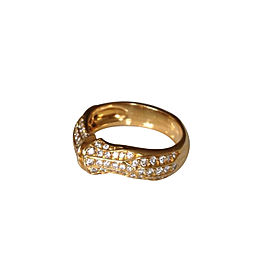 Cartier Pave Diamond 18K Yellow Gold Bamboo Ring