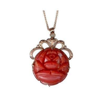 "Image of ""Vintage 14K Rose Gold Carved Deep Red Coral Flower Pendant Chain"""