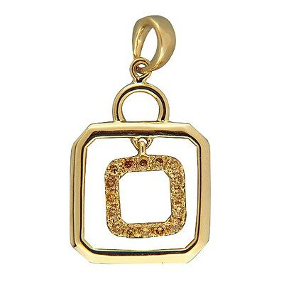 "Image of ""14K Yellow Gold with 0.15ct. Yellow Diamond Hanging Center Pendant"""