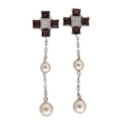 "Image of ""Giorgio Visconti 18K White Gold Garnet Diamond & Pearl Earrings"""