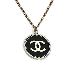 Chanel Silver Tone Logo Necklace