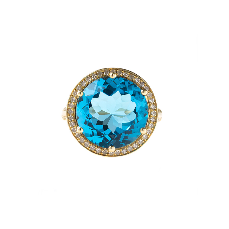 "Image of ""14k Yellow Gold Diamond and Swiss Blue Topaz Ring"""