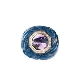 14k Yellow Gold Diamond, Lapis Lazuli and Amethyst Ring