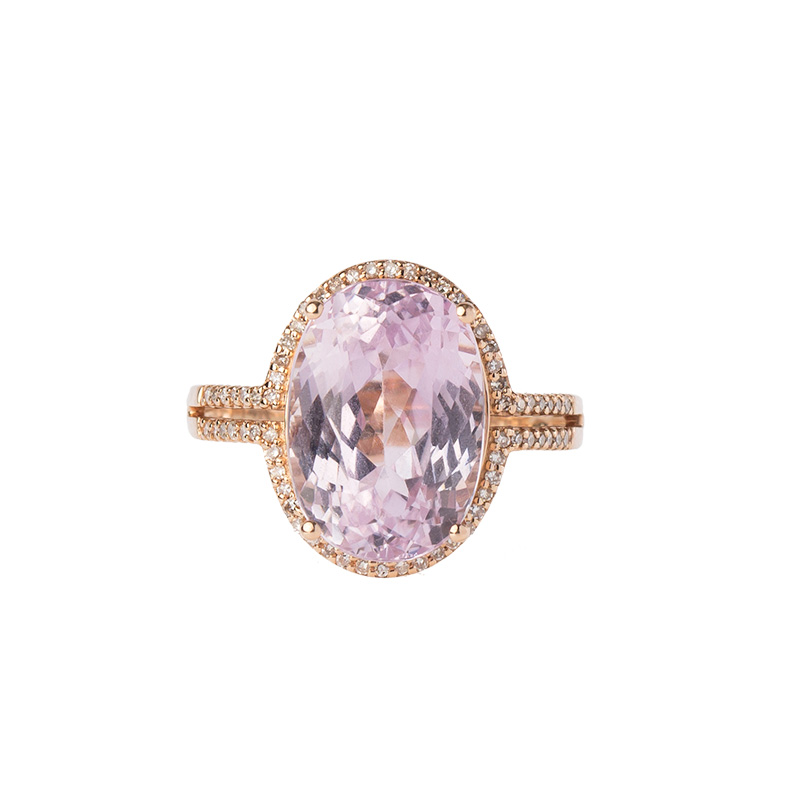"Image of ""14k Rose Gold Diamond and Kunzite Ring"""