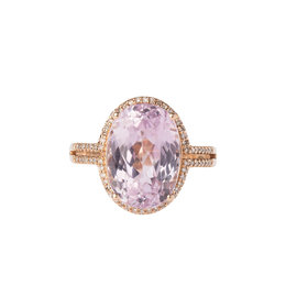 14k Rose Gold Diamond and Kunzite Ring