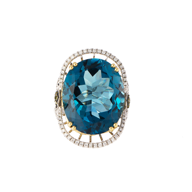 "Image of ""18k Yellow and White Gold Diamond, Yellow Diamond and London Blue"""