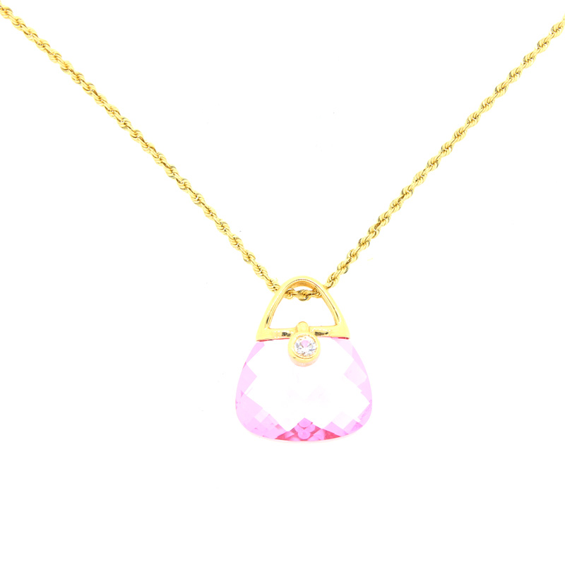 "Image of ""Yellow Gold Simulated Pink Sapphire and Diamond Purse Necklace"""
