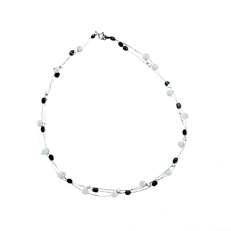 "Image of ""Three Row Multi Color Fresh Water Pearl Necklace"""