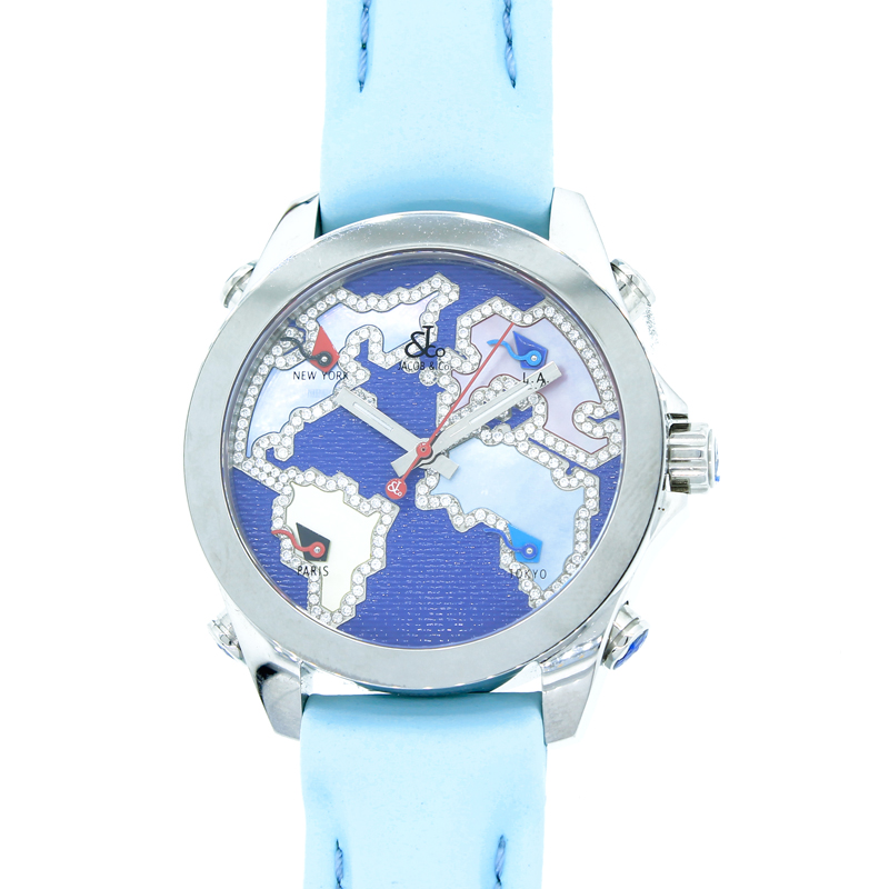"""Image of """"Jacob & Co. Five Time Zone Stainless Steel Diamond Accented Blue Dial"""""""