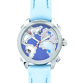 Jacob & Co. Five Time Zone Stainless Steel Diamond Accented Blue Dial Unisex Watch