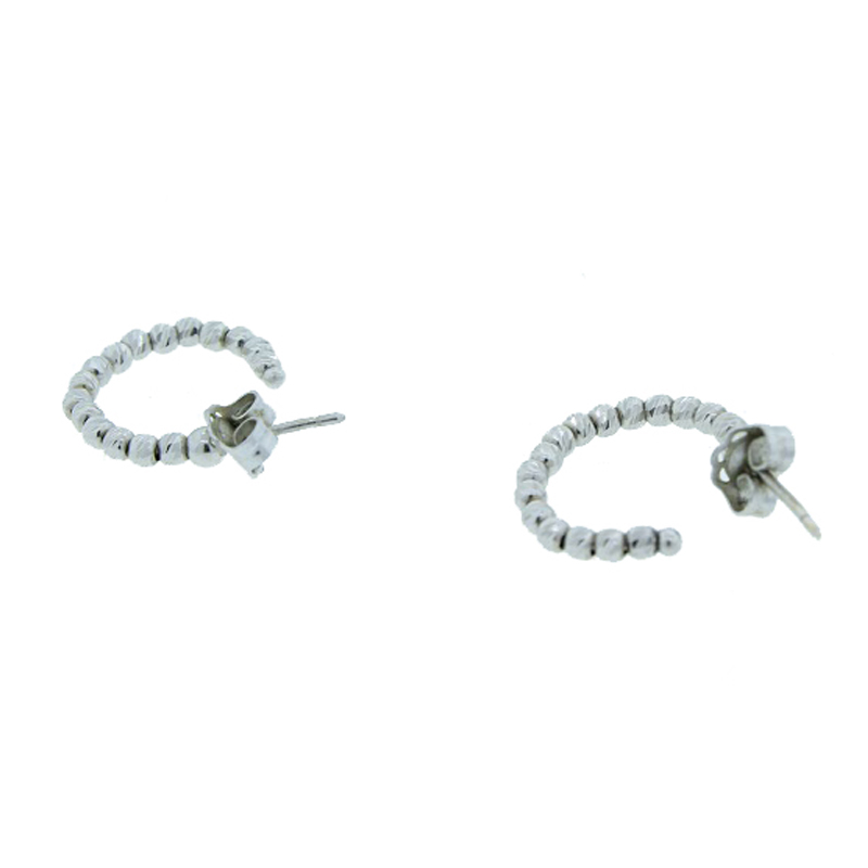 "Image of ""White Gold Plated Ball Hoop Earrings"""