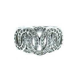 14K White Gold Solid Interlocking Oval Diamond Ring