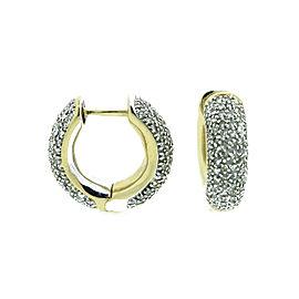 14K Yellow Gold & Diamond Hoop Earrings
