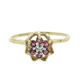 10K Yellow Gold, Ruby & Diamond Flower Ring
