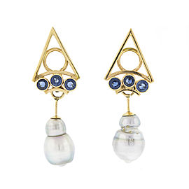 14k Yellow Gold Pyramid Earring Mabe Pearl and Synthetic Sapphire