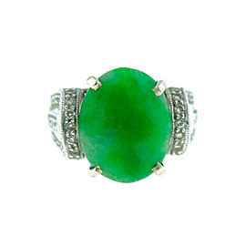 14K White Gold Jade Ring