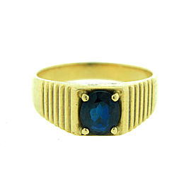 18K Yellow Gold Oval Sapphire Ring