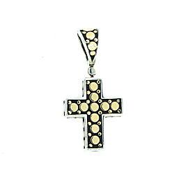 John Hardy 18k Gold Sterling Dot Cross Pendant