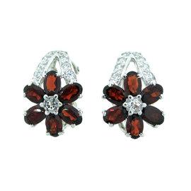 Sterling Silver Flower Shape Garnet and Cubic Zirconia Earrings