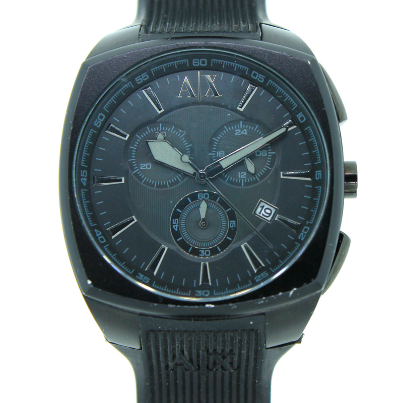 "Image of ""Armani Exchange Chronograph Date Silicone Band 50M Mens Watch"""