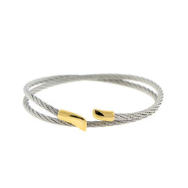 Charriol Stainless Steel and Gold Plated CableBangle