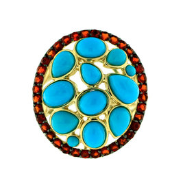 14k Yellow Gold Fire Opal and Turquoise Ring