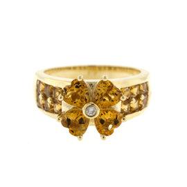 14k Yellow Gold Diamond and Citrine Ring