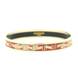 Hermes Printed Red Paris Ribbon Silver Tone Cuff Bracelet