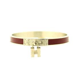 Hermes Silver Maroon H Lock Cuff Bracelet