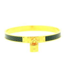 Hermes Gold green print H lock cuff