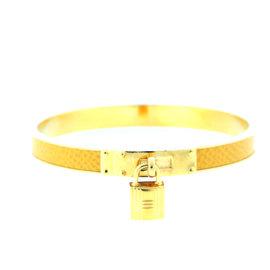 Hermes Gold Yellow H Lock Cuff Bracelet