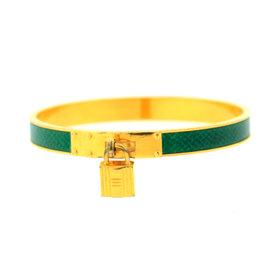 Hermes Gold green snake print H lock cuff