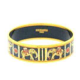 Hermes Printed Black Elephants Gold-Tone Cuff Bracelet