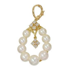 Mikimoto 18K Yellow Gold 0.09 Ct Pearl and 0.08 Ct Diamond Pendant