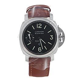 Panerai Luminor Marina PAM01005 Stainless Steel & Brown Leather Black Dial Manual 44mm Men's Watch