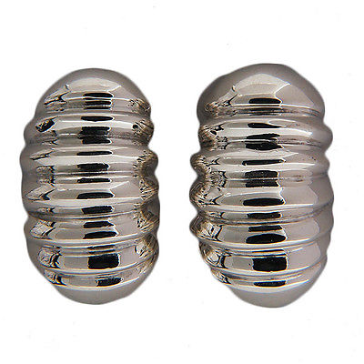 "Image of ""Keiselstein-Cord Sterling Silver Domed Fluted Clip Earrings"""