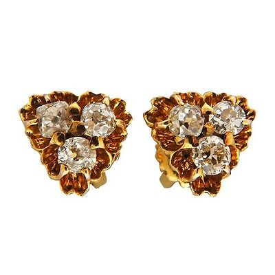 "Image of ""10K to 12K Rose Gold Diamond Threaded Screw Back Earrings"""
