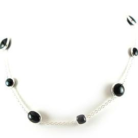 IPPOLITA Silver Scultura Blue Tigers Eye Multi Shape Station Chain Necklace
