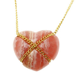 Tiffany & Co. 18K Yellow Gold and Rhodochrosite Heart Necklace