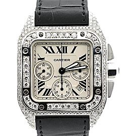 Cartier Santos Stainless Steel & Diamond Mens Watch