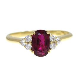 Boucheron 18K Yellow Gold Ruby Ring Size 6